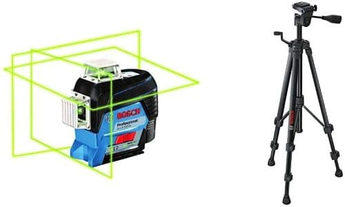 Bosch GLL3-330CG 360-Degree Green Beam Three-Plane Leveling and Alignment-Line Laser & Bosch BT150 Compact Extendable Tripod review