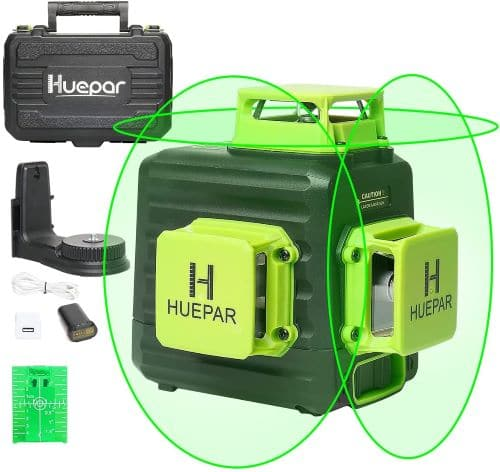 Huepar 3D Cross Line Self-Leveling Laser Level 3 x 360 Green Beam Three-Plane Leveling and Alignment Laser Tool review